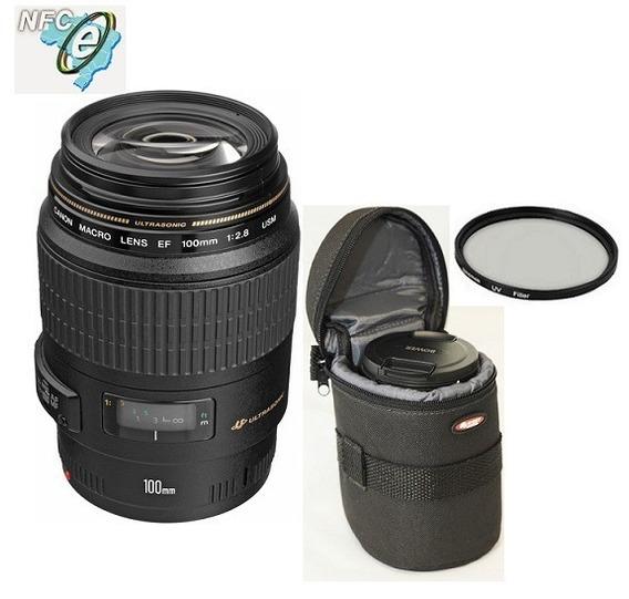 Lente Canon Ef 100mm F/2.8 Macro Usm + Bolsa+uv 58mm Nota Fiscal