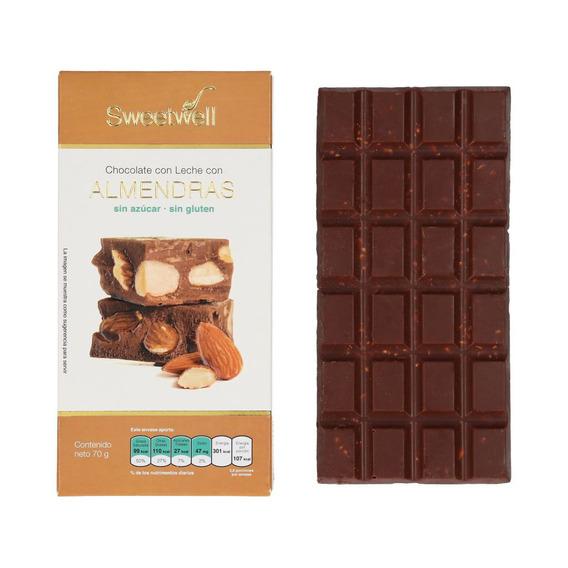 Chocolate Barra Leche Y Almendras Sweetwell Sin Azúcar 75grs