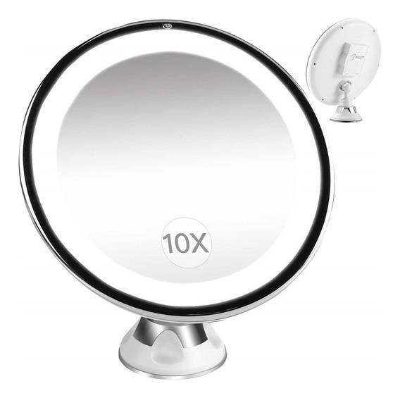 Espelho Parede E Mesa Com Ventosa Giratorio Com Aumento Led