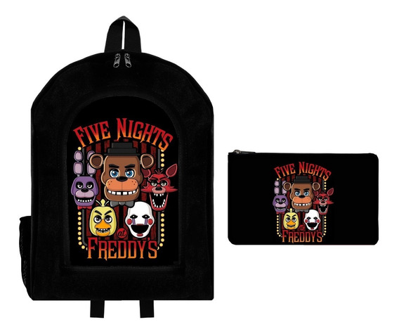 Combo Mochila Reforzada + Cartuchera Five Nights At Freddys2