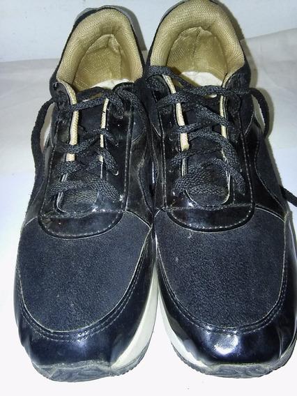 Zapatillas Con Plataforma Negras Impecable Estado!!!