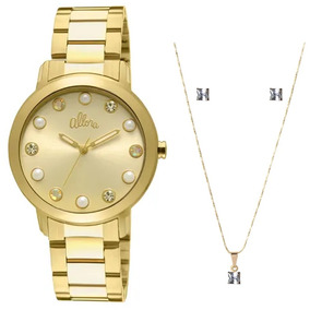 Kit Relógio Feminino Allora Analógico Al2035lr/k4d - Dourado