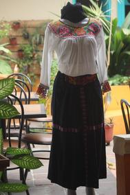 Falda De Mezclilla Artesanal Chiapas Pretina Bordada A Mano