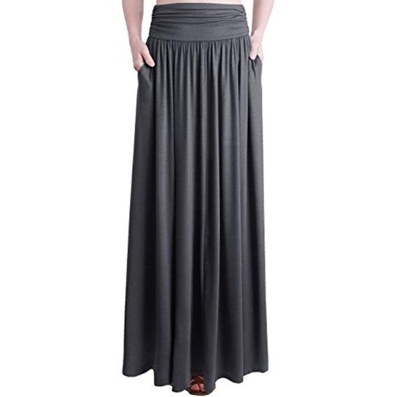 Trendy United Falda Larga Shirring Con Bolsillos