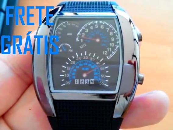 Frete Grátis Relógio Com Leds Azuis Est. Velocímetro Digital