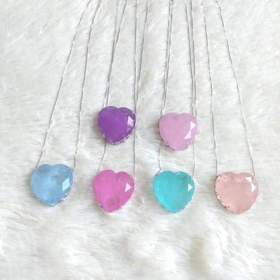 Colar Feminino Coração De Pedra Rodio Branco - Rosa