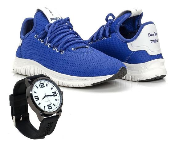 Kit Tênis Masculino Pj Polo Joy Caminhada Esportivo +relógio