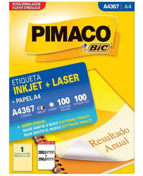 Etiqueta A4367 288x200mm 1col 100un / 100fl / Pimaco