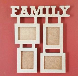 Portaretrato Family 4 Fotos En Mdf Crudo