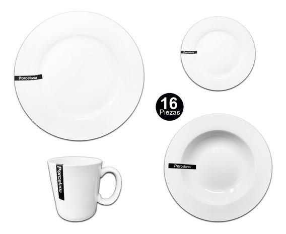 Set Vajilla Olympo 16 Piezas Platos Tazas Porcelana Blanca