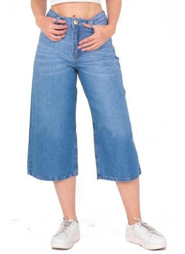 Pantalon Culotte Oxford Ancho Rigido Tiro Alto. Di Que Si