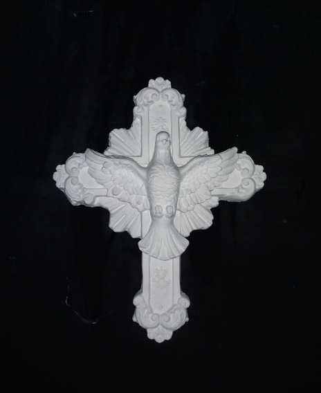 Crucifixo Divino Espírito Santo 23cm De Parede Gesso Cru