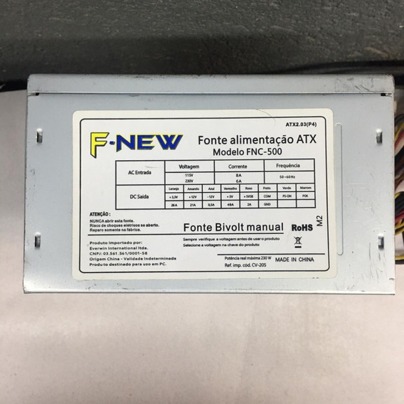 Fonte Atx 24 Pinos 205w F-new Model Cv-205