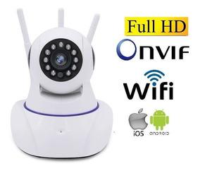 Camera Ip Wireless Sem Fio Wifi Hd 3 Antenas Sensor Noturno