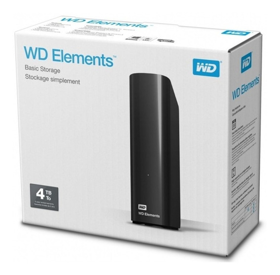 Hd Externo - 4.000gb (4tb) / Usb 3.0 - Western Digital Elements - Preto - Wdbwlg0040hbk
