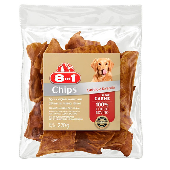 8in1 Osso Chips Carne 220 G Petisco Cães Couro Bovino