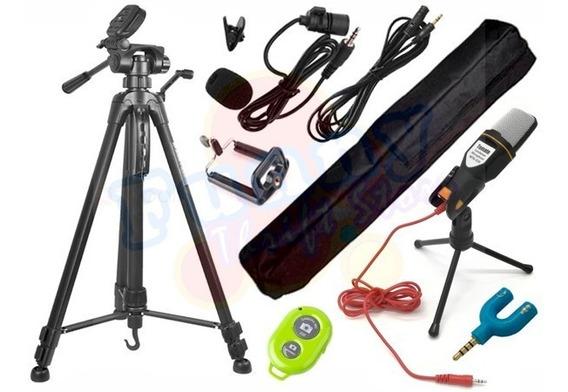 Kit Youtuber Microfone Condensador Mtg020 Tripé Hy3600 170cm