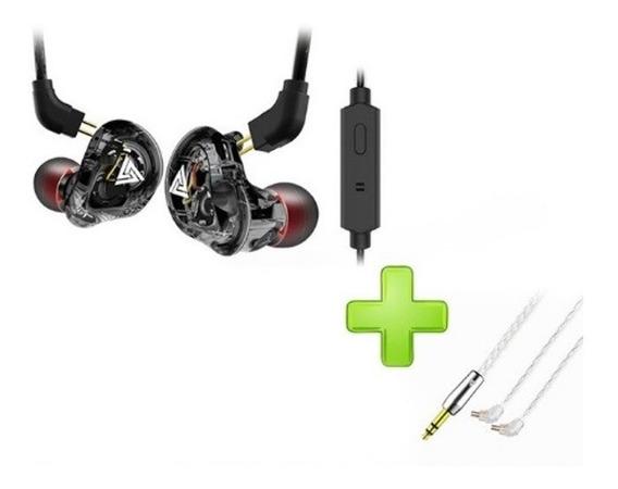 Fone Vk1 C/mic Orig Qkz Preto + Cabo Reposição Banhado Pra