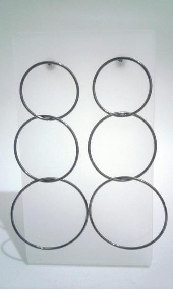 Maxi Brinco Circular Na Cor Rodio Negro