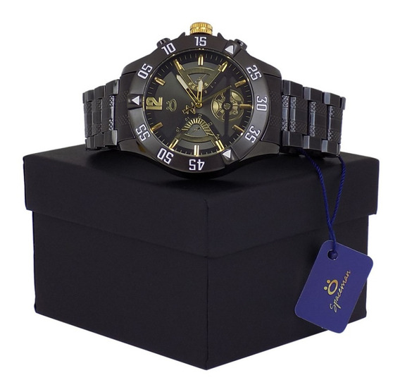 Relógio Masculino Pulseira Aço Preto Estiloso Moderno Oferta