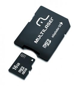Cartão De Memória Micro Sd 16gb Multilaser + Adaptador Sd