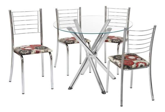 Conjunto Fil Mesa Eduarda 14000 Com 4 Cadeiras 196 Cromada