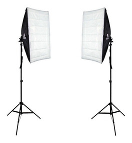 Kit De Softbox Duplo 50x70cm Soquete De Luz Embutido E Tripé