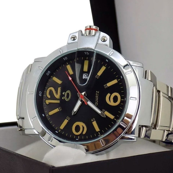 Relógio Masculino Original Pulseira Em Aço Acompanha Caixa