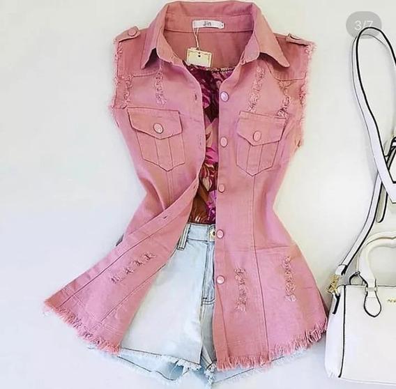 Colete Comprido Jeans Feminino Destroyed Promocão Top