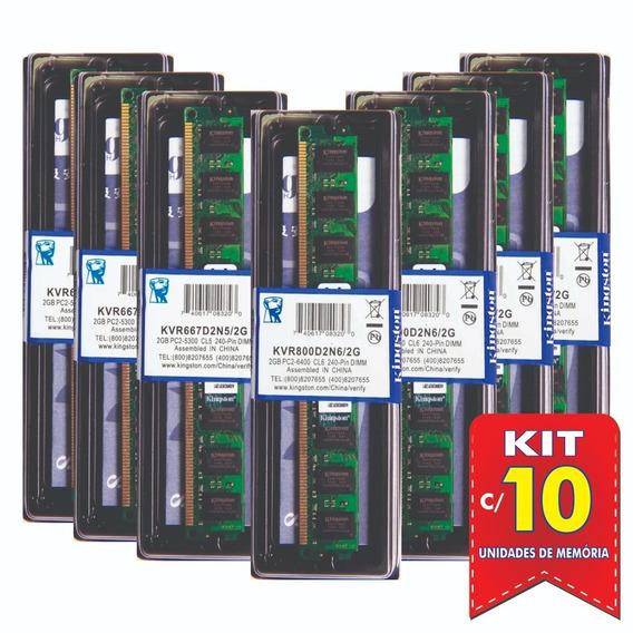 Memória Kingston Ddr2 2gb 800 Ou 667 Mhz Desktop Kit C/10