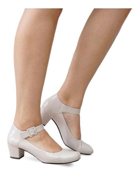 Sapato Boneca Bege Verniz Salto Baixo Grosso Confortável