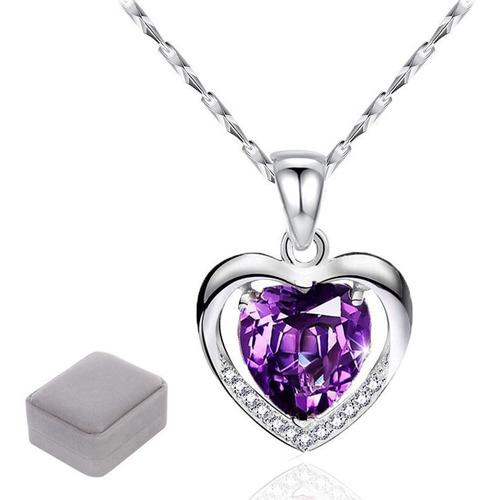 Collar Con Dije De Corazón De 925 Plata Y Cristal Para Mujer