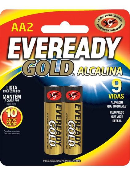 Pilas Baterias Alcalinas Aa 1.5v Paquete De 2 Eveready Gold
