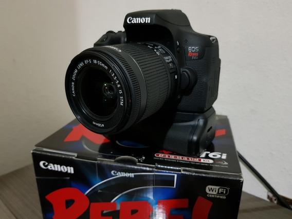 Canon T6i + Mic. Rode + 2 Bat. + Tripé + Grip + Lente 50mm..