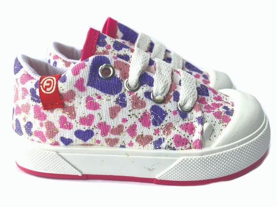 Zapatilla De Nena Infantil Con Cordones Floreada 19 Al 24