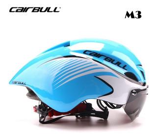 Capacete Ciclismo Aero Tt Time Trial Cair Bull + 2 Óculos