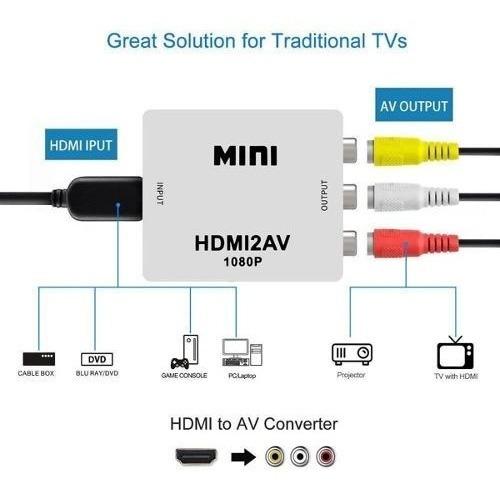 Adaptador Conversor De Hdmi Para 3 Rca Audio Video Av Tv Box
