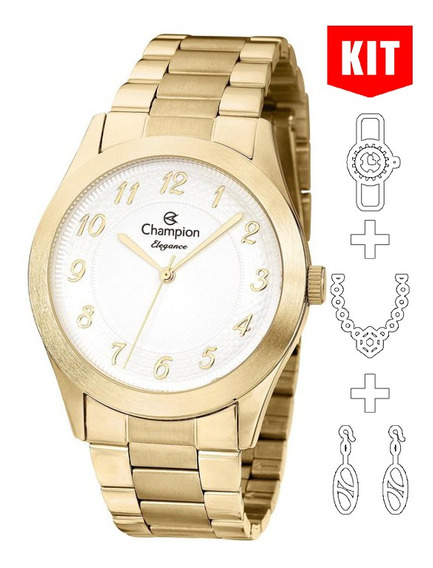 Relógio Champion Kit Elegance Feminino Dourado Cn26484w