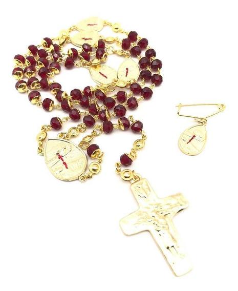 Terço Gotas De Sangue Mãos Ensanguentadas De Jesus Com Boton