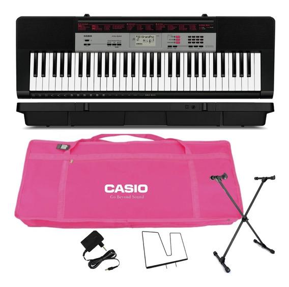 Kit Teclado Digital Musical 61 Teclas Ctk-1500 Casio Rosa