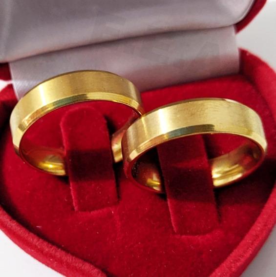 Alianças Chanfrada Casamento Aço Inox E Caixinha
