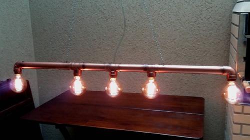 Luminária Retrô Industrial, Pvc,cano + Lampadas
