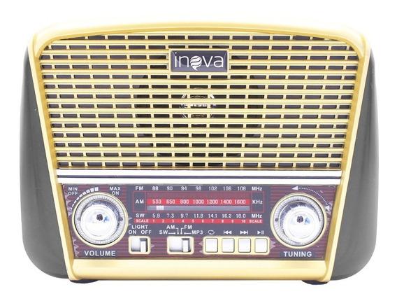 Caixa De Som Vintage Radio Retro Mp3 Com 3 Bandas