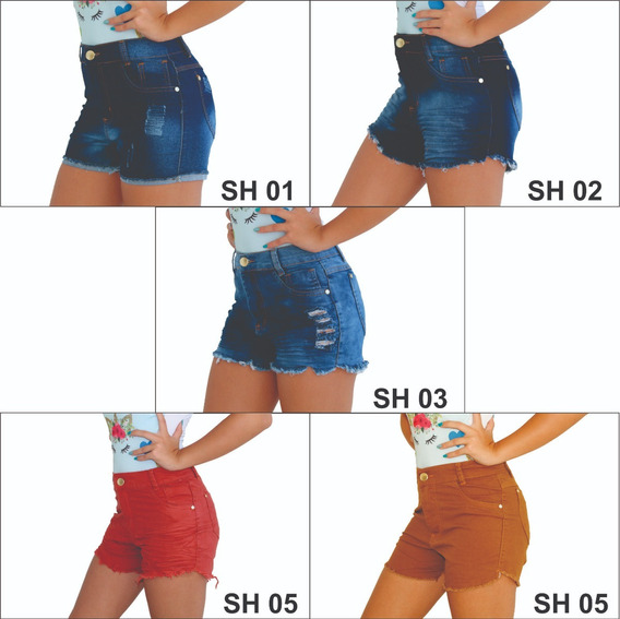 Kit 3 Shorts Jeans Feminino Hot Pants Cintura Alta Atacado