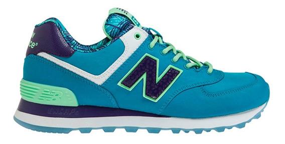Zapatillas Nb New Balance 574 Originales Mujer Celestes