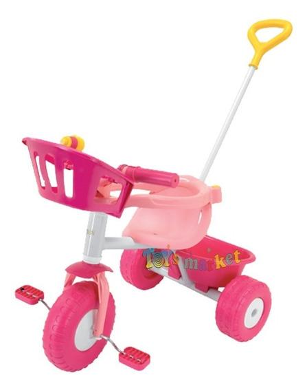 Triciclo Con Barra De Paseo Nene Nena Pink Blue Metal Rondi
