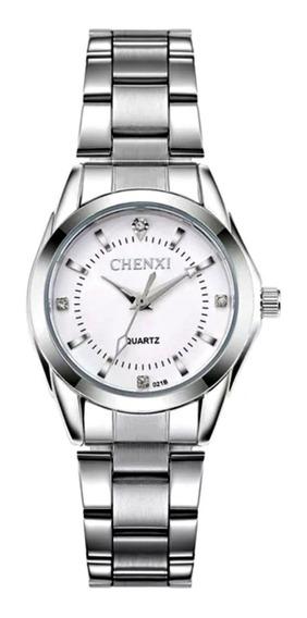 Relógio Feminino Pequeno Pulso Fino Prata Aço Inox Branco
