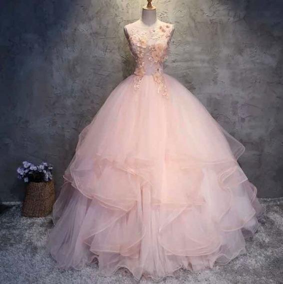 Vestido Quinceañera Rosa Nuevo Flores