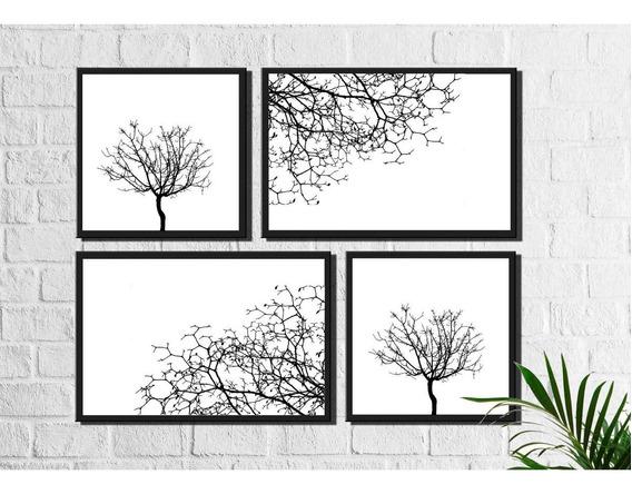 4 Quadros Decorativos Galhos Secos Preto E Branco