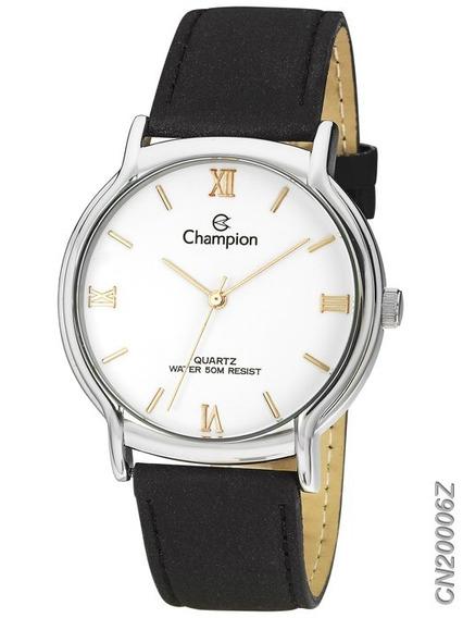 Relógio Champion Feminino Prata Cn20006z Em Couro